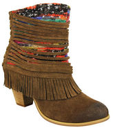 Naughty Monkey Talyhoe Fringe and Lace Suede Ankle Boots