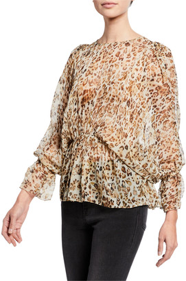 IRO Saggi Leopard-Print Tie-Back Long-Sleeve Silk Blouse