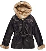 Wilsons Leather Womens Vintage Belted Leather Jacket W/ Faux-Fur Lining