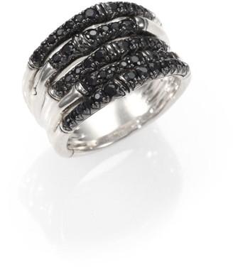 John Hardy Bamboo Black Sapphire & Sterling Silver Multi-Band Ring