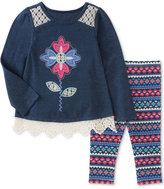 Kids Headquarters 2-Pc. Lace-Trim Flower Tunic & Leggings Set, Baby Girls (0-24 months)