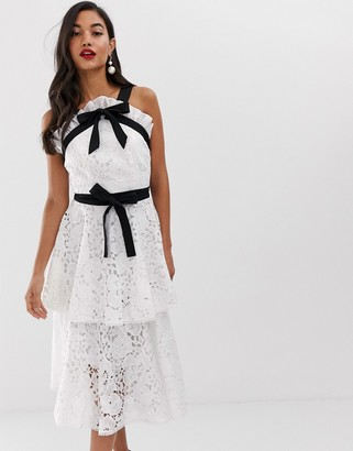 True Decadence premium contrast halter neck lace midi dress with bow detail and tiered skirt in white