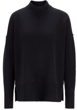 HUGO BOSS Relaxed Fit Sweater In Pure Cashmere With Mock Neck - Black