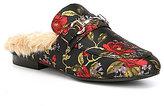 Steve Madden Jill Floral Print Faux Fur Lined Dress Mules