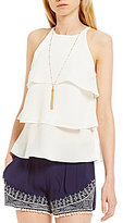 I.N. San Francisco High Neck Triple Tiered Necklace Tank Top