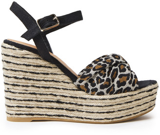 Castaner Cotton And Linen-blend Leopard-jacquard And Canvas Wedge Espadrille Sandals