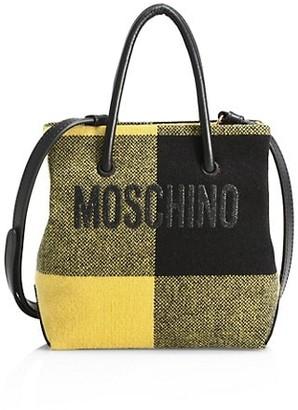 Moschino Logo Mixed-Media Tote
