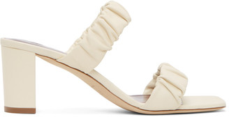 STAUD Beige Nappa Frankie Ruched Heeled Sandals