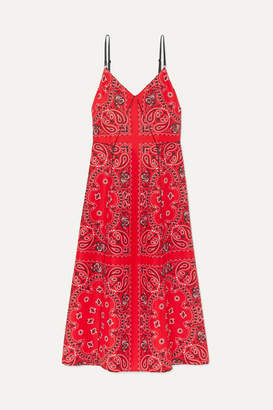 Alexander Wang Leather-trimmed Printed Silk Midi Dress - Red