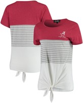 Unbranded Alabama Crimson Tide Why Knot Colorblocked Striped Knotted T-Shirt - Crimson