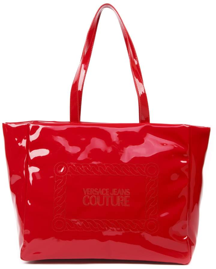 Versace Red Patent Tote Bag With Logo
