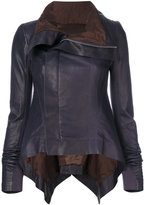 Rick Owens trapeze hem biker jacket - women - Silk/Cotton/Leather - 40