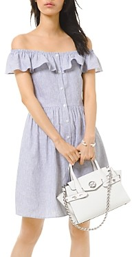 MICHAEL Michael Kors Wide Neck Button-Up Mini Dress