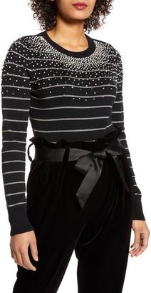 Halogen X Atlantic-Pacific Pearl Metallic Stripe Sweater