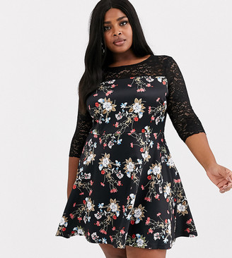Simply Be floral skater dress with lace detail-Black