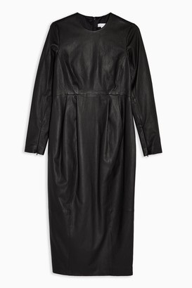 Topshop Womens **Black Leather Dress By Black