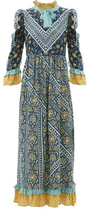 D'Ascoli Coromandel Printed Silk Dress - Navy Multi