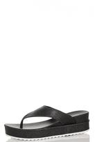 Quiz Black Glitter Wedge Sandals