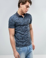 Asos Polo Shirt With All Over Tonal Paisley Print