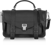 Proenza Schouler PS1+ Medium Black Grainy Leather Flap Handbag