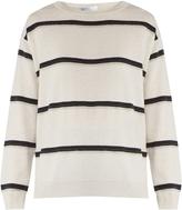 Brunello Cucinelli Monili-embellished striped cashmere sweater