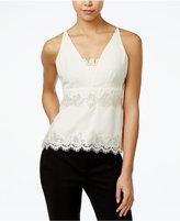 XOXO Juniors' Lace-Trim V-Neck Top