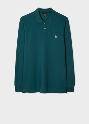 Paul Smith Men's Teal Organic-Cotton Zebra Logo Long-Sleeve Polo Shirt