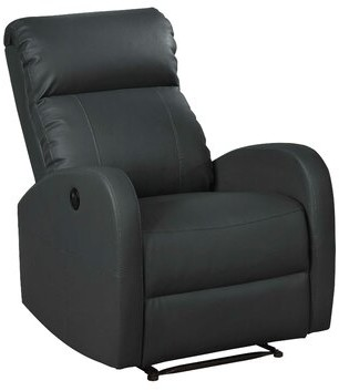 Latitude Run Atilia Modern Leather Power Recliner Upholstery Color: Black