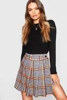 boohoo Dogtooth Pleated Wrap Mini Skirt