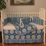 Hoohobbers Medallion Blue 4 Piece Crib Bedding Set