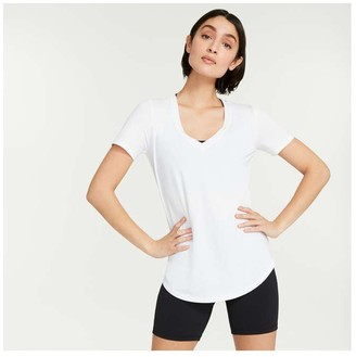 Joe Fresh Women's V-Neck Active Tee, White (Size XS)