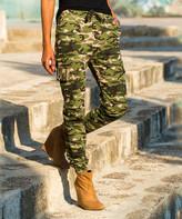 Cck Style CCK Style Women's Casual Pants Khaki - Olive Camouflage Drawstring-Waist Cargo Pants - Women