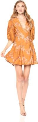 Keepsake Women's This Love Lace Puff Short Sleeve V Neck Mini Dress