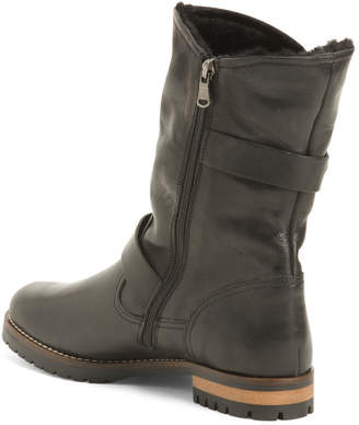 Made In Italy Leather Lug Sole Boots