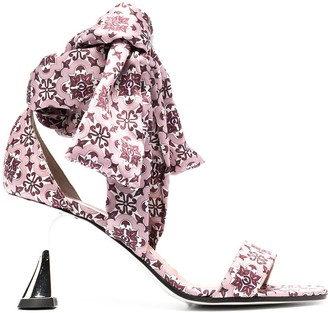 Pollini Azulejos satin sandals
