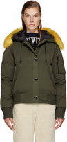 Kenzo Green Fur-Trimmed Down Jacket