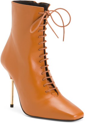 Made In Spain High Heel Leather Lace Up Booties