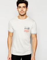 Brave Soul USA Print Washed Pocket T-Shirt