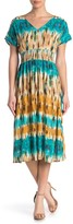 BeBop Tie Dye Smocked Waist Midi Dress