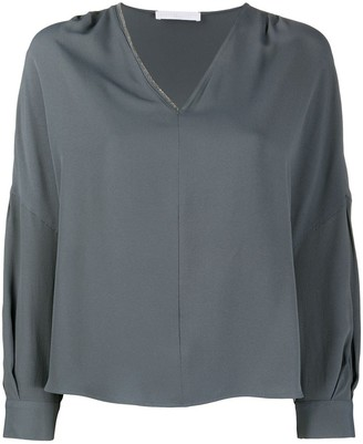 Fabiana Filippi v-neck pleated-shoulder blouse