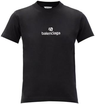 Balenciaga Logo-embroidered Cotton-jersey T-shirt - Black