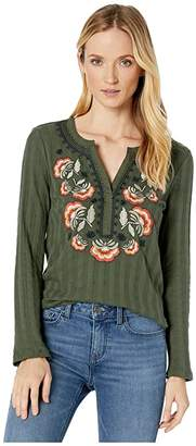 Tribal Long Sleeve Henley Top w/ Embroidery