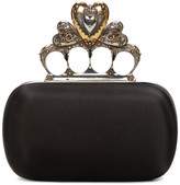 Alexander McQueen Black Small Heart Knucklebox Clutch
