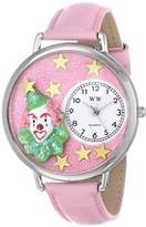 Whimsical Watches Pink Glitter Clown Pink Leather and Silvertone Unisex Quartz Watch with White Dial Analogue Display and Multicolour Leather Strap U-0210009