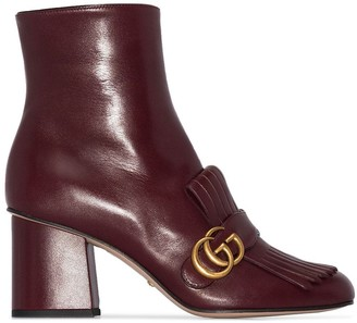 Gucci Marmont 75mm fringed ankle boots