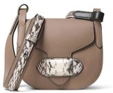 Michael Kors Daria Small Crossbody Saddle Bag in Dark Taupe with Snake Trim