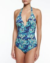 OndadeMar Night Shadow Feather-Print One-Piece Swimsuit, Multicolor