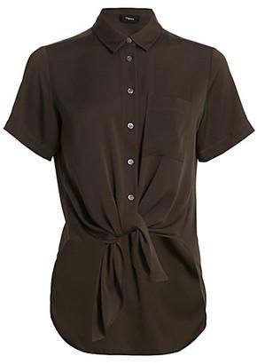 Theory Hekanina Core Short-Sleeve Tie-Front Shirt