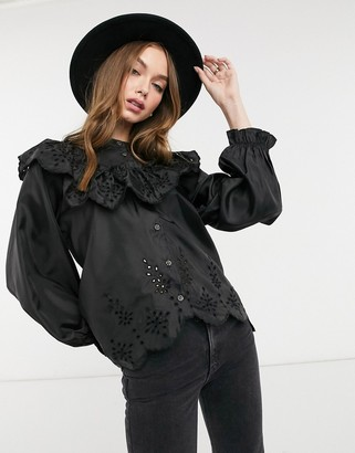 Topshop embroidered blouse in black
