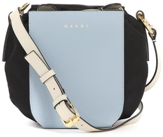 Marni Gusset Bag In Nylon And Shiny Calfskin Leather